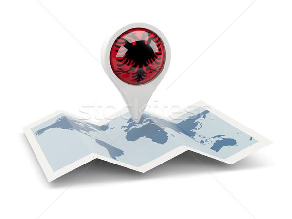 Pin bandera Albania mapa viaje blanco Foto stock © MikhailMishchenko