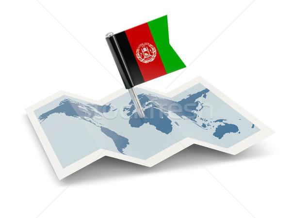 карта флаг Афганистан изолированный белый Сток-фото © MikhailMishchenko