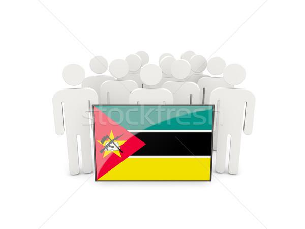 Pessoas bandeira Moçambique isolado branco multidão Foto stock © MikhailMishchenko