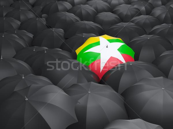 şemsiye bayrak Myanmar siyah yağmur Stok fotoğraf © MikhailMishchenko