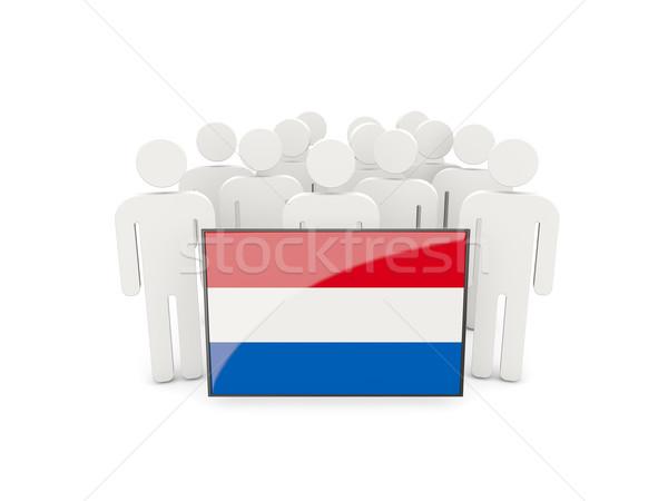 Mensen vlag Nederland geïsoleerd witte menigte Stockfoto © MikhailMishchenko