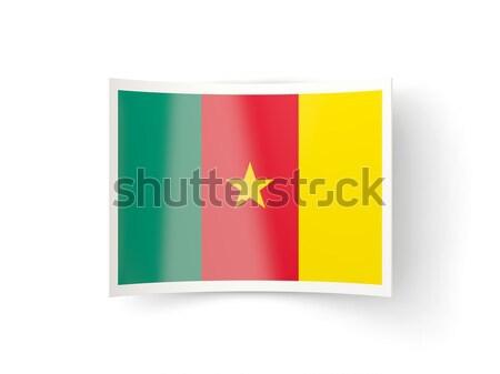 Placu naklejki banderą Kamerun odizolowany biały Zdjęcia stock © MikhailMishchenko