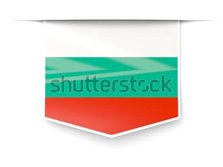Vierkante label vlag Bulgarije geïsoleerd witte Stockfoto © MikhailMishchenko