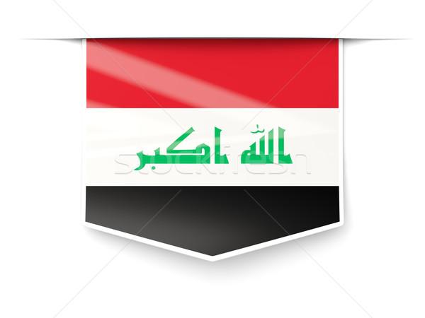 Praça etiqueta bandeira Iraque isolado branco Foto stock © MikhailMishchenko