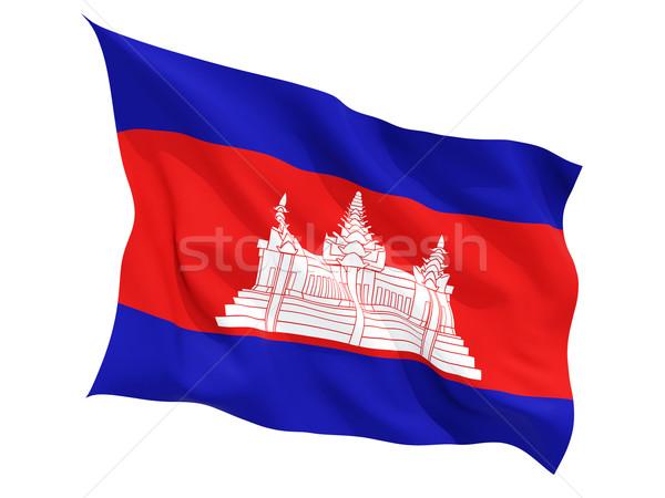 Integet zászló Kambodzsa izolált fehér Stock fotó © MikhailMishchenko