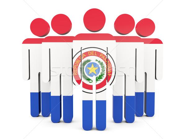 Zdjęcia stock: Ludzi · banderą · Paragwaj · odizolowany · biały · tłum