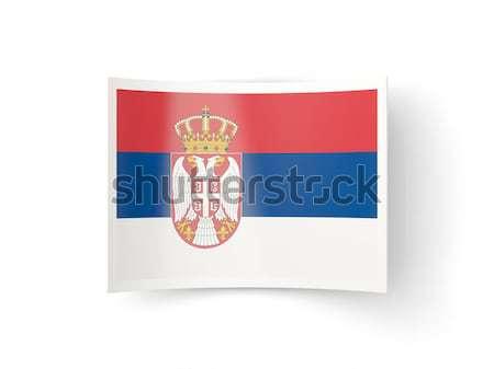 Cuadrados icono bandera Serbia metal marco Foto stock © MikhailMishchenko