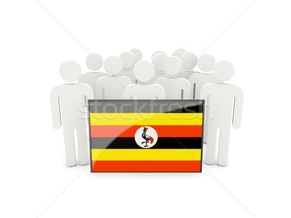Emberek zászló Uganda izolált fehér tömeg Stock fotó © MikhailMishchenko