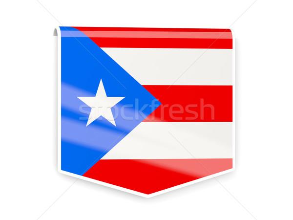 Vlag label Puerto Rico geïsoleerd witte wereld Stockfoto © MikhailMishchenko