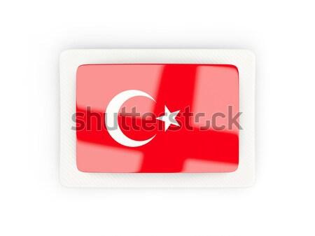 Foto stock: Bandeira · etiqueta · Tunísia · isolado · branco · assinar