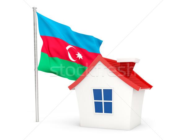 Casa bandera Azerbaiyán aislado blanco casa Foto stock © MikhailMishchenko