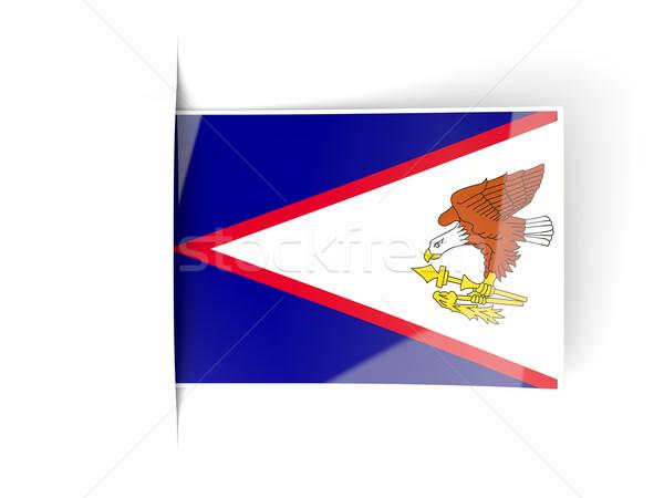 Praça etiqueta bandeira Samoa Americana isolado branco Foto stock © MikhailMishchenko