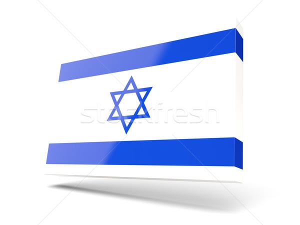 Praça ícone bandeira Israel isolado branco Foto stock © MikhailMishchenko