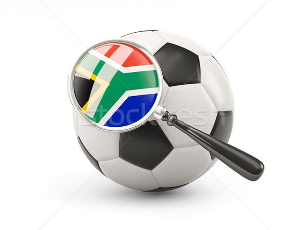 Fußball vergrößert Flagge Südafrika isoliert weiß Stock foto © MikhailMishchenko