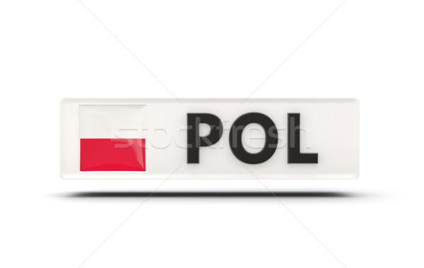 Square icon with flag of poland Stock photo © MikhailMishchenko