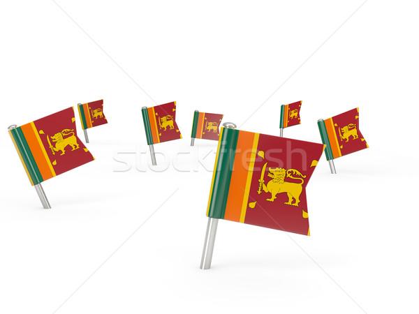 Placu banderą Sri Lanka odizolowany biały kraju Zdjęcia stock © MikhailMishchenko