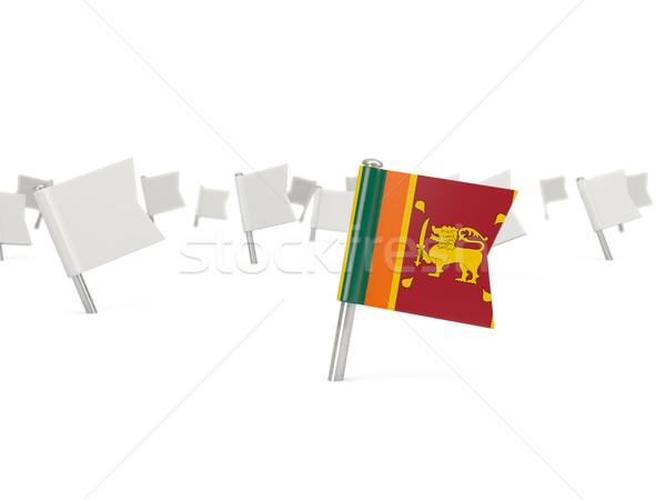 Vierkante pin vlag Sri Lanka geïsoleerd witte Stockfoto © MikhailMishchenko