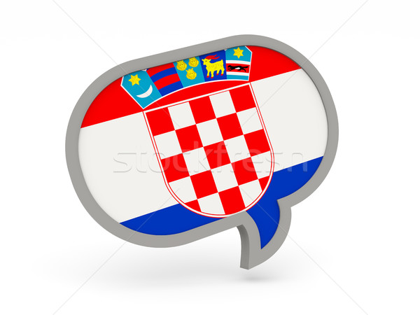 Chat ikon zászló Horvátország izolált fehér Stock fotó © MikhailMishchenko
