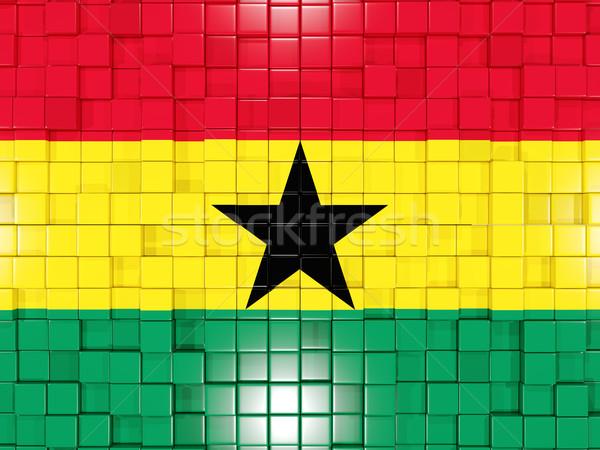 Background with square parts. Flag of ghana. 3D illustration Stock photo © MikhailMishchenko