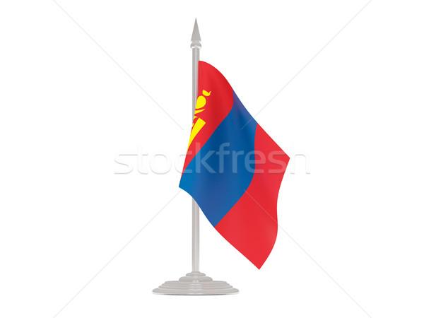 Banderą Mongolia maszt 3d odizolowany biały Zdjęcia stock © MikhailMishchenko