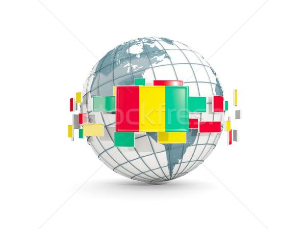Wereldbol vlag geïsoleerd witte 3d illustration kaart Stockfoto © MikhailMishchenko