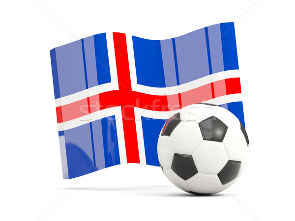 Football with waving flag of iceland isolated on white Stock photo © MikhailMishchenko