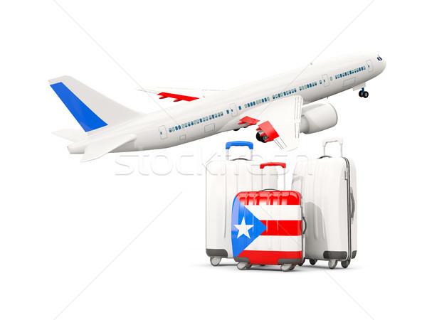 Bagages pavillon trois sacs avion isolé Photo stock © MikhailMishchenko