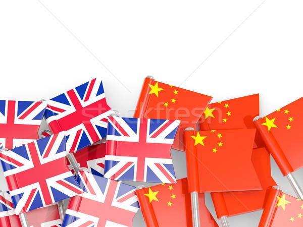 Flag pins of United Kingdom and China isolated on white Stock photo © MikhailMishchenko