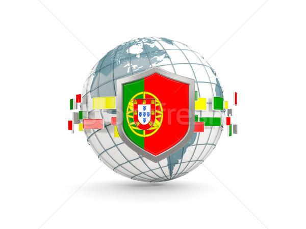 Monde bouclier pavillon Portugal isolé blanche Photo stock © MikhailMishchenko