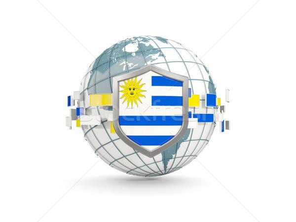 Globo escudo bandeira Uruguai isolado branco Foto stock © MikhailMishchenko