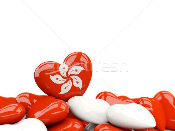 Corazón bandera Hong Kong superior corazones aislado Foto stock © MikhailMishchenko