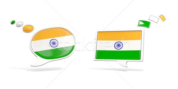 Iki sohbet simgeler bayrak Hindistan kare Stok fotoğraf © MikhailMishchenko