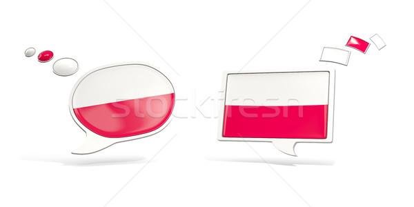 Dwa chat ikona banderą Polska placu Zdjęcia stock © MikhailMishchenko