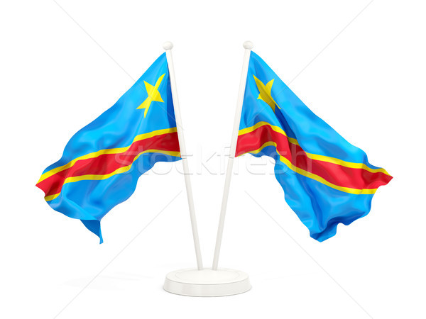 Two waving flags of democratic republic of the congo Stock photo © MikhailMishchenko