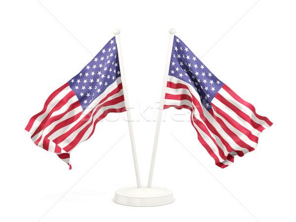 Iki bayraklar Amerika Birleşik Devletleri Amerika yalıtılmış Stok fotoğraf © MikhailMishchenko