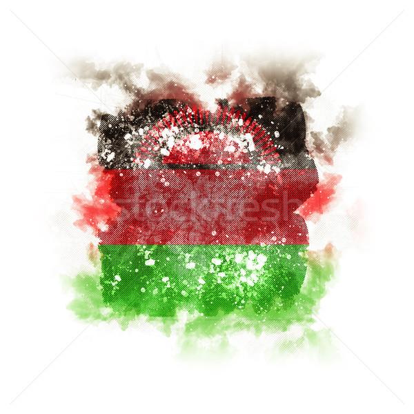 Vierkante grunge vlag Malawi 3d illustration retro Stockfoto © MikhailMishchenko