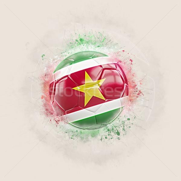 Гранж футбола флаг Суринам 3d иллюстрации Мир Сток-фото © MikhailMishchenko