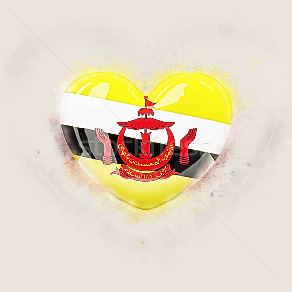 Hart vlag Brunei grunge 3d illustration reizen Stockfoto © MikhailMishchenko