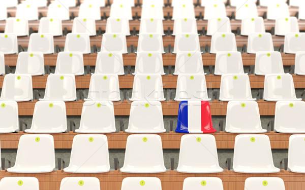 Estádio assento bandeira França branco Foto stock © MikhailMishchenko