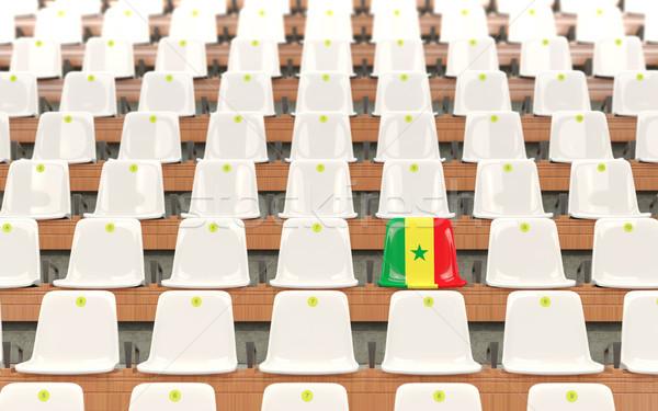 Stade siège pavillon Sénégal rangée blanche Photo stock © MikhailMishchenko