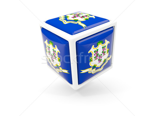Connecticut bandeira cubo ícone Estados Unidos local Foto stock © MikhailMishchenko