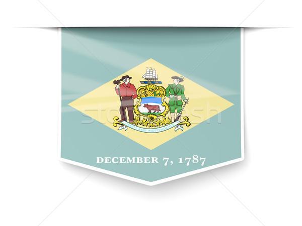 Делавэр флаг квадратный Label тень Соединенные Штаты Сток-фото © MikhailMishchenko