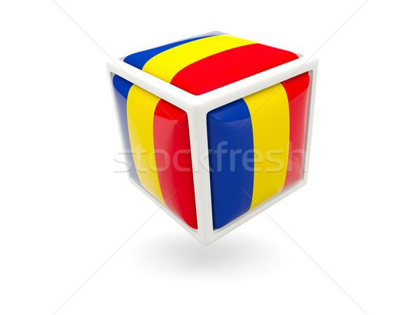 Vlag Roemenië kubus icon geïsoleerd witte Stockfoto © MikhailMishchenko