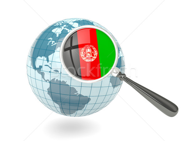 Magnified flag of afghanistan with blue globe Stock photo © MikhailMishchenko