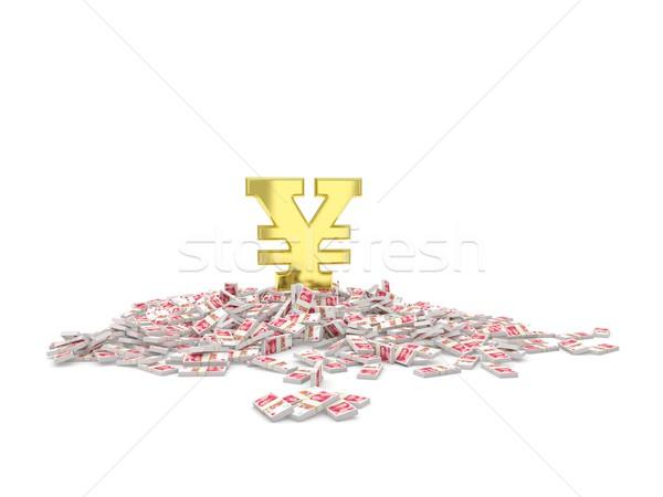 Stock photo: Golden yuan sign