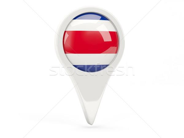 Zászló ikon Costa Rica izolált fehér térkép Stock fotó © MikhailMishchenko
