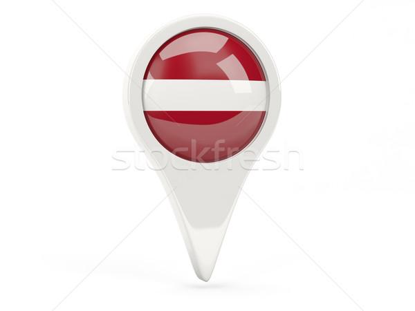 Bandera icono Letonia aislado blanco mapa Foto stock © MikhailMishchenko