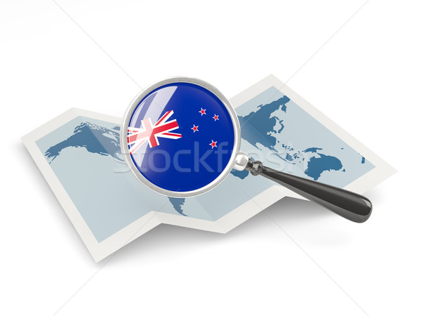 Magnified flag of new zealand with map Stock photo © MikhailMishchenko