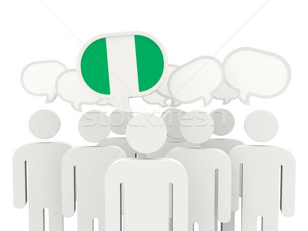 Zdjęcia stock: Ludzi · banderą · Nigeria · odizolowany · biały · spotkanie