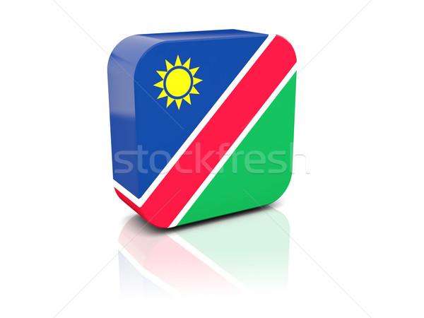 Kare ikon bayrak Namibya yansıma beyaz Stok fotoğraf © MikhailMishchenko